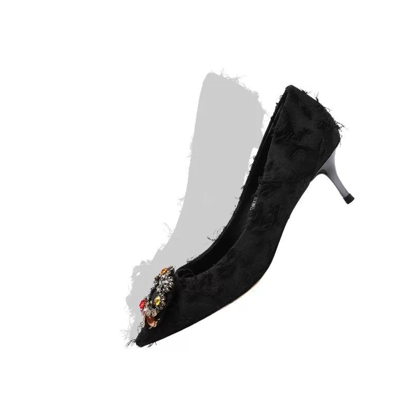 Cuir Black Pompes En Stkehidba Slip Talon Et Femmes Tissu Escarpins Coton Soirée Mode De green Robe Med on 2019 Véritable Mince Chaussures OwqnrRSPOv