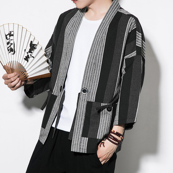 eac74b6f09368  4319 Striped Cotton Linen Kimono Coat Vintage Open Stitch Plus Size 5XL  Mens Jackets And Coats Black White Kimono Cardigan Men