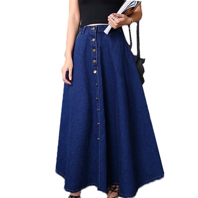 Vintage Elegant Women Skirts Autumn Winter Denim Long Skirts Womens Maxi Long Big Swing High Waist Office Ladies Skirt