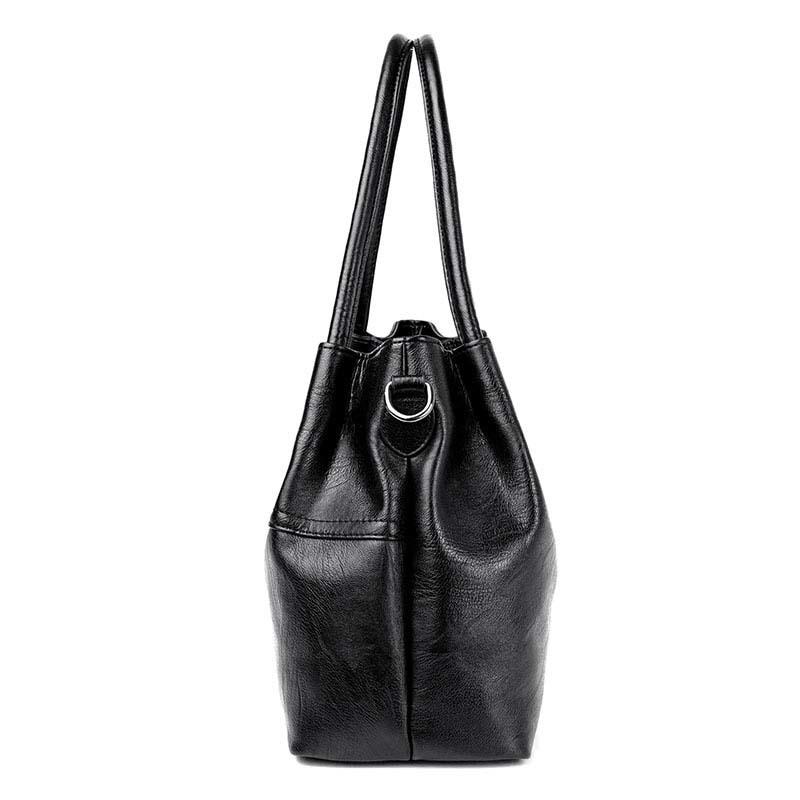 Image 2 - 2019 New Ladies Hand Bag Women's Genuine Leather Handbag Black Tote Bag Bolsas Femininas Female Shoulder Bag Leather Women-in Top-Handle Bags from Luggage & Bags