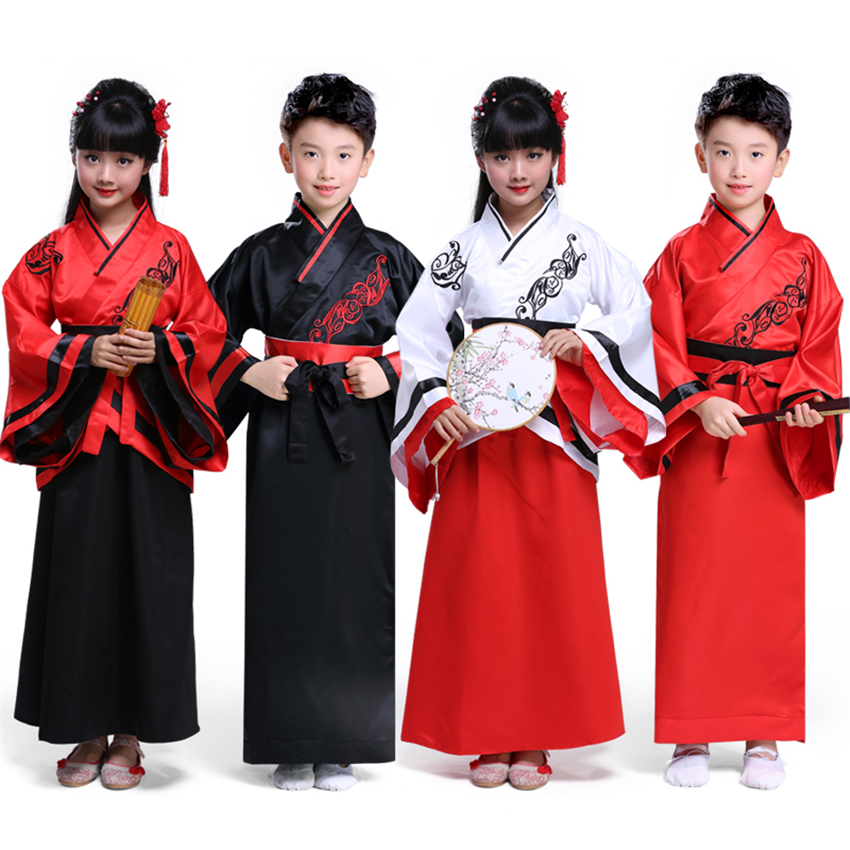 2019 New Year Traditional Chinese Clothing for Kids Red Cheongsam Set Boys Girls Satin Dress Culture Retro Qipao Hanfu Costumes