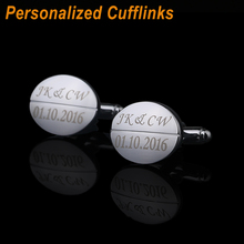 Customized  wedding date souvenir Cuff Links laser engraved classic for Men