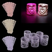 Lot of 6pcs LED Candle Lampshade Pattern Heart Ajoure Decoration for Christmas Wedding