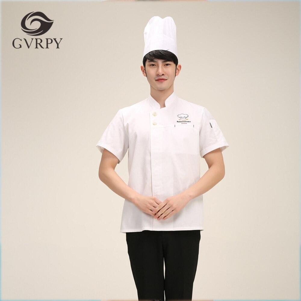 2018 Summer M-3XL Men White Stand Collar Embroidery Ropa De Cocina Kitchen Jackets Chef Cook Workwear Uniform Short Sleeve Shirt
