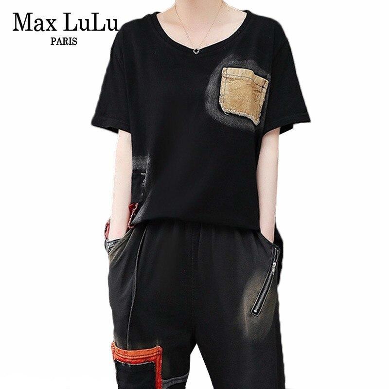 Max LuLu 2019 Mode Koreanischen Stil Vintage Mädchen Sommer Tops Und Hosen Frauen Casual Zwei Stück Set Patchwork Kleidung Club outfits-in Damen-Sets aus Damenbekleidung bei  Gruppe 1