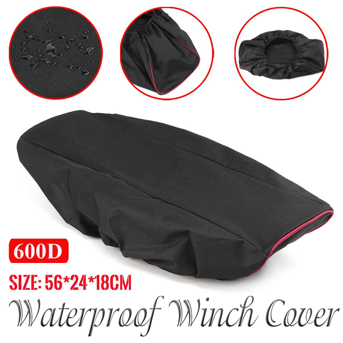 Black Waterproof Soft Winch Cover Mildew-resistant UV Car Covers 600D Oxford Cloth Driver Recovery 56x24x18cm