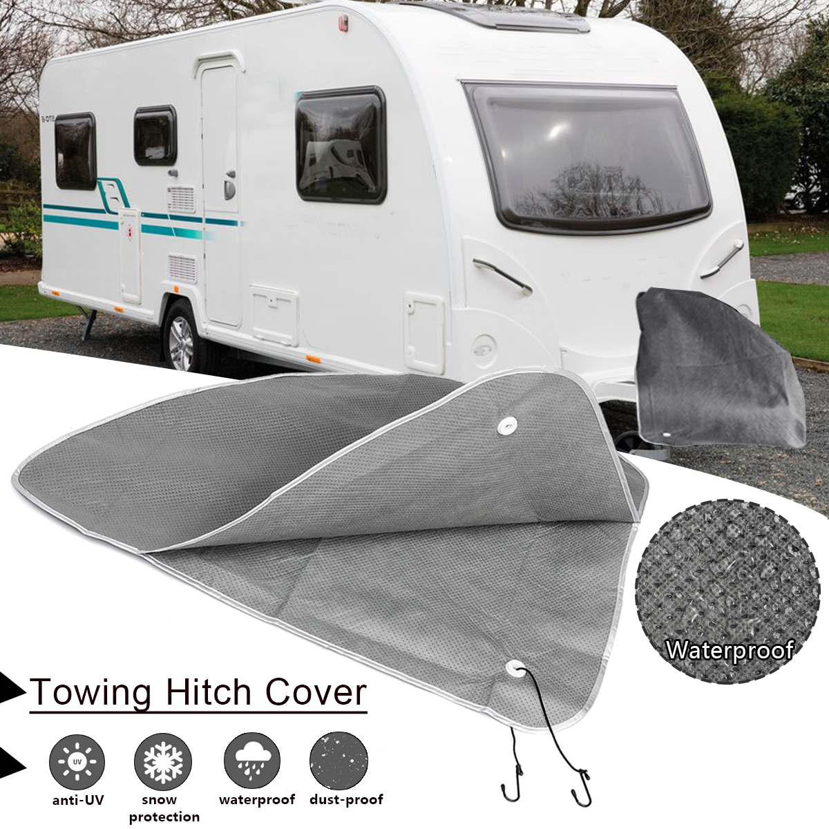 Universal Caravan Towing Hitch Coupling Lock Cover Waterproof Dustproof for RV Truck Trailer