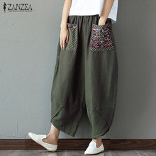 ZANZEA Autumn Retro Print Pockets Women Elastic Waist Loose Long Trousers Linen Harem Pants Cotton Casual  Splice Pantalon