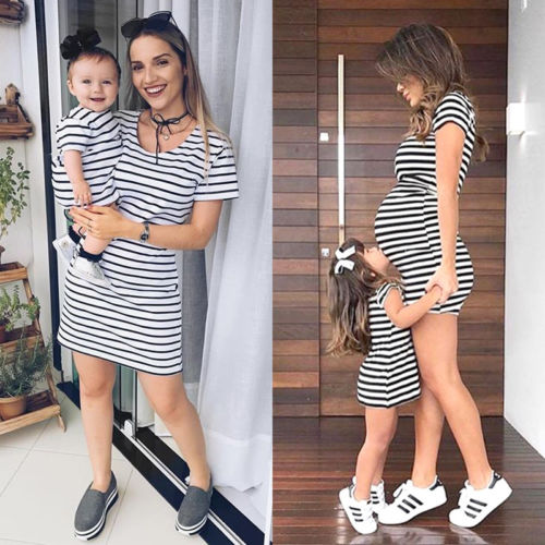 HOT Family Mother and Daughter Matching Striped Dress Womens Girls Mini Dresses