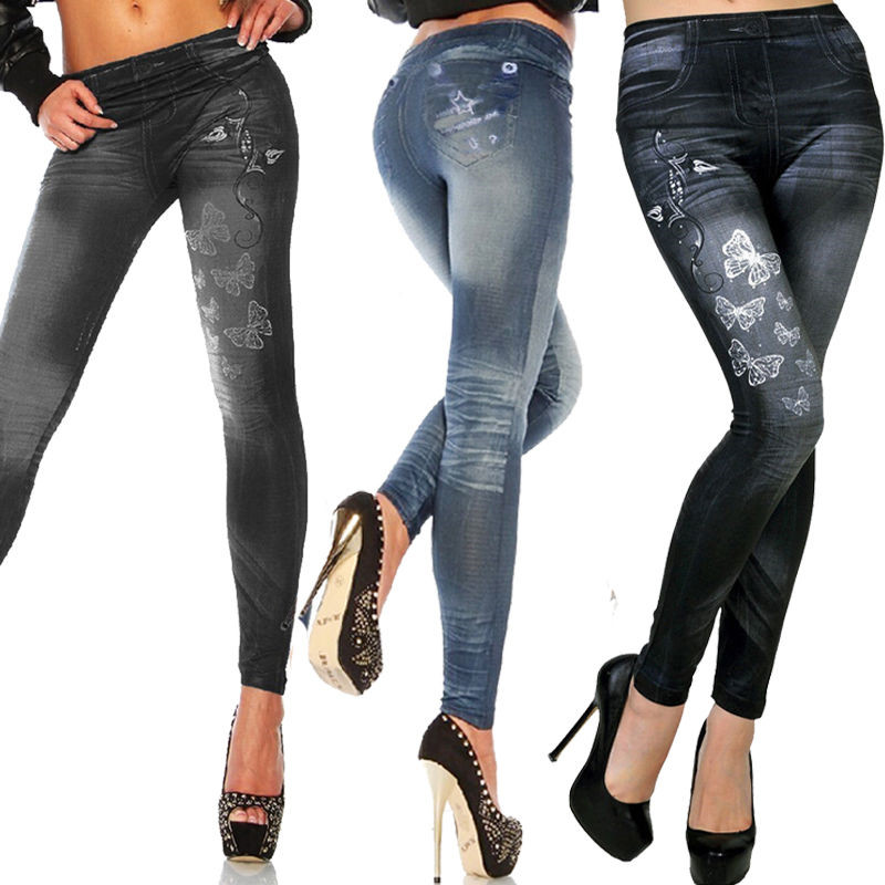 2019 New Women High Waist Skinny long Jeans Jeggings Denim Pecil Print Pants Lady Slim Elastic Skinny fit Pant Trousers 4 colors in Jeans from Women 39 s Clothing