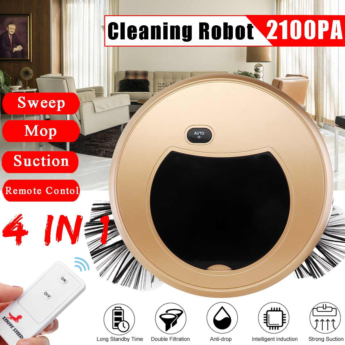 4 IN 1 Automatic Vacuum Smart Cleaning Robot Cleaner Sweeper Mop With Remote Control Sweeping USB Charger US Plug Strong Suction