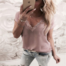 2019 Women Blouse Tops Summer Top Casual Loose Short Sleeve Solid Lace V-neck Chiffon Blouses Female Shirts Vest Blusa Plus Size(China)
