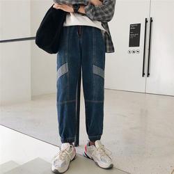 2018 Для мужчин; восстановление мешковатые Homme Классический грузовой карман джинсы голубой цвет связаны ноги Повседневное брюки байкер