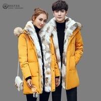 5XL White Duck Down Jacket Women Winter Goose Feather Coat Long Raccoon Fur Parka Warm Rabbit Plus Size Outerwear 2019 Okd701