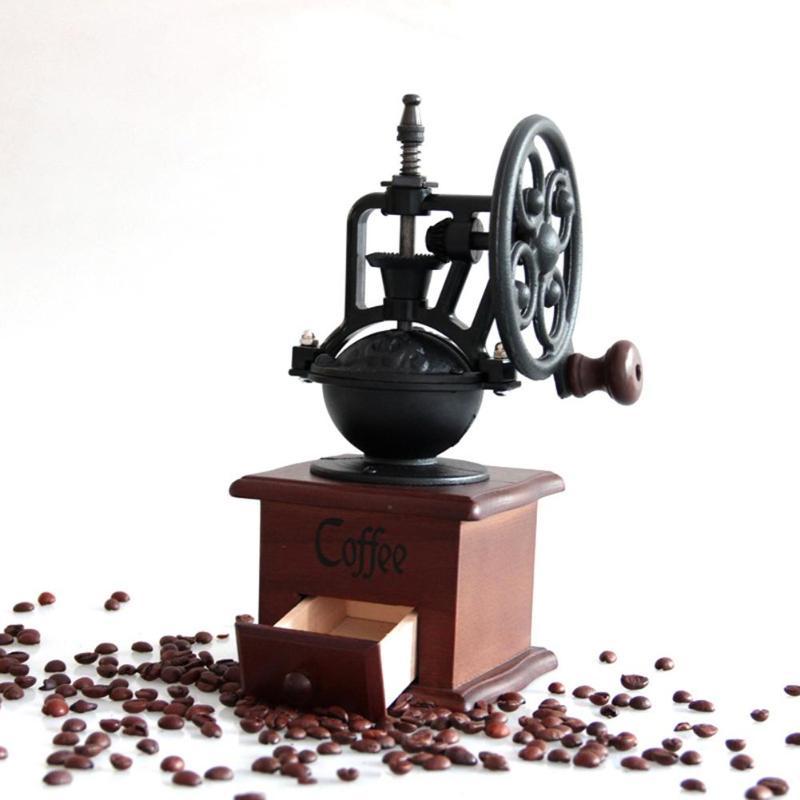 Vintage Retro Manual Coffee Grinder Wooden Coffee Bean Mill Hand Crank Ferris Wheel Burr Coffee Maker Grinding Machine For Home