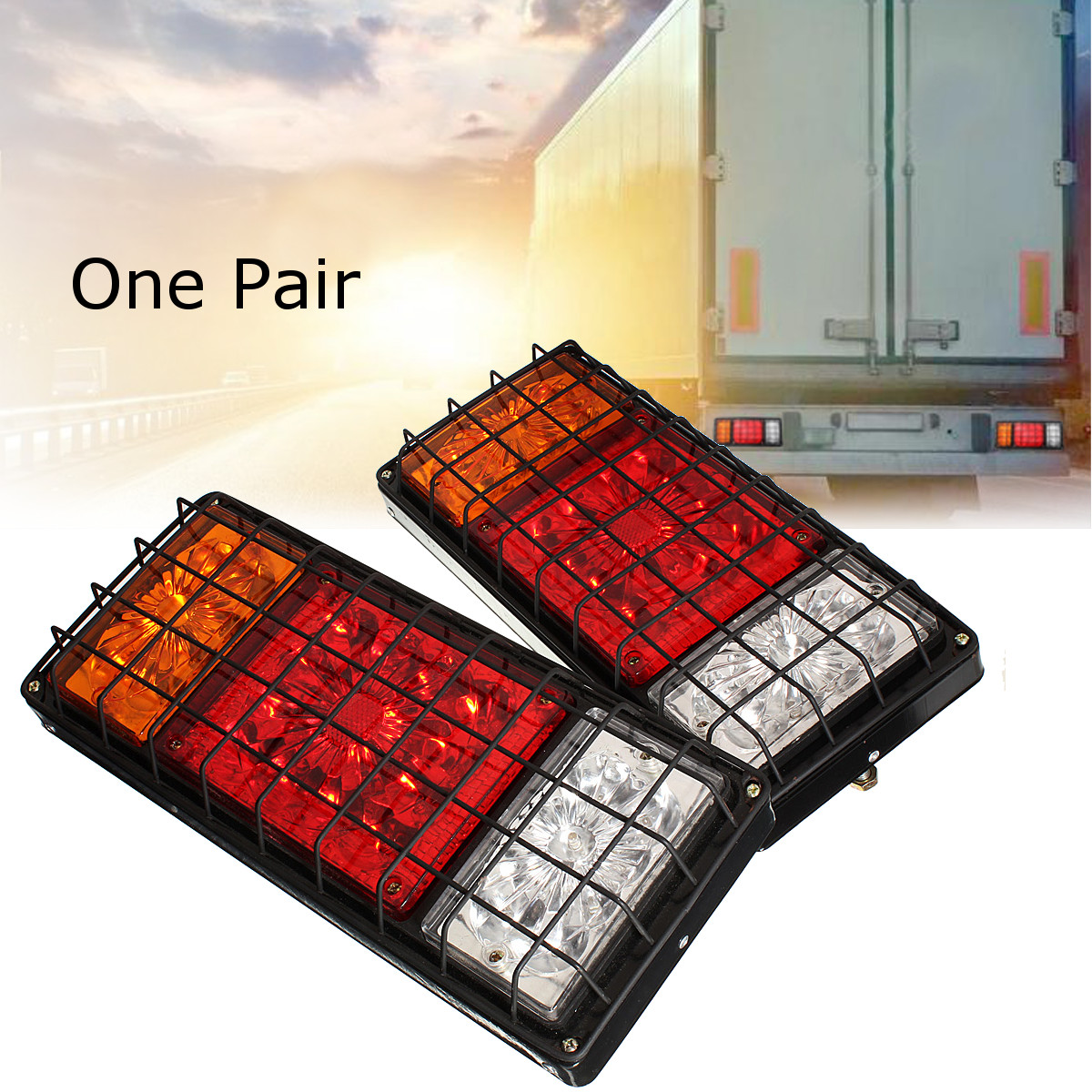 1 Pair 12v/24v LED Stop Rear Turn Signal Stop Rear Tail Indicator Lights Reverse Lamps Trailer Truck Lorry