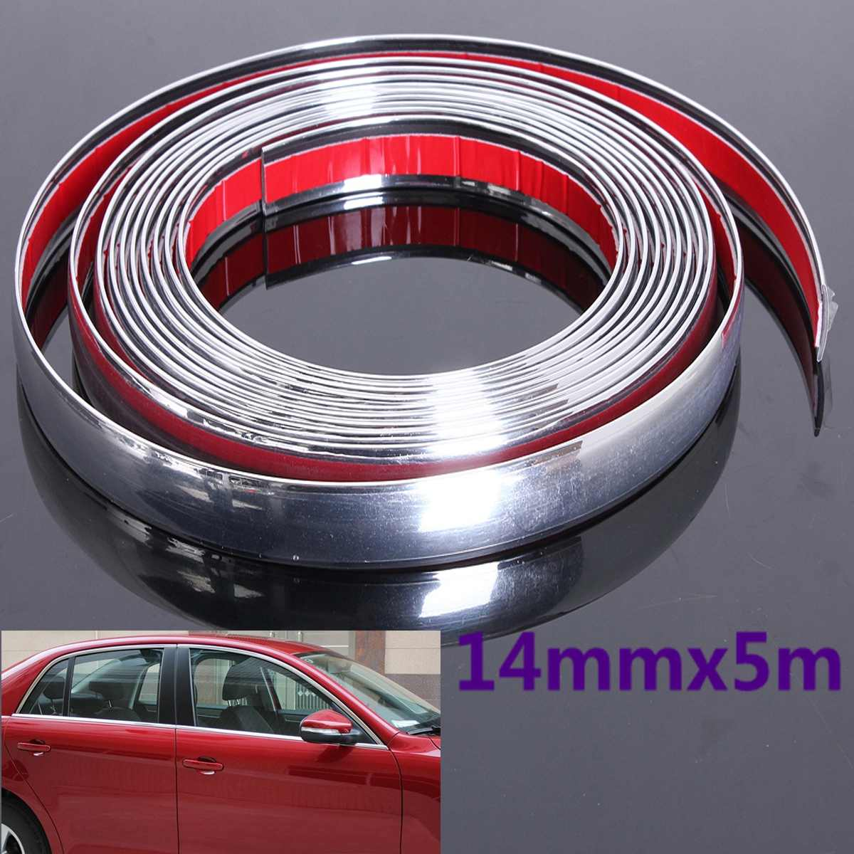 14mm 5M Auto Car Styling Decorative Moulding Strip Trim Self Adhesive Protecter Decal Chrome Styling Van