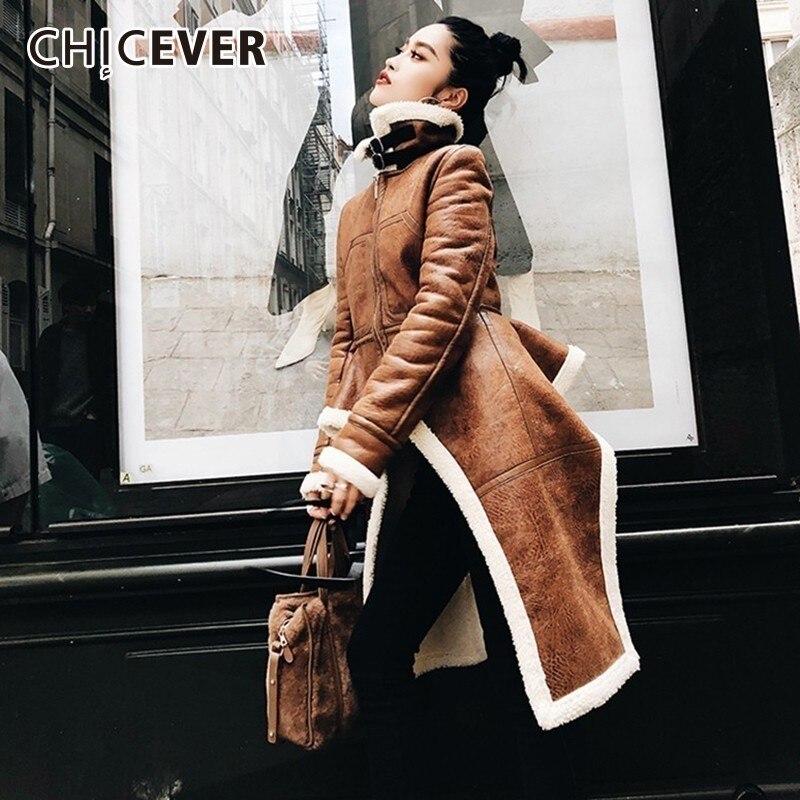 CHICEVER зимняя овечья шерсть более Размеры d куртка пальто для женщин Мех животных теплая Асимметричная Свободные Плюс