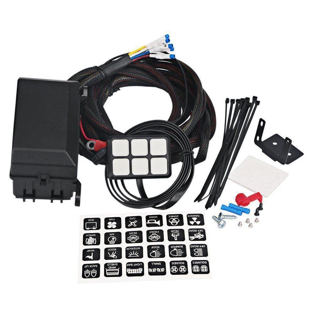 6 переключатель панель реле Управление коробка + комплект жгута проводов Подходит для авто 12 В DC мощность