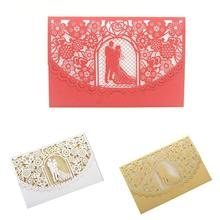 10PCS/Pack Style Hollow Bride and Groom Wedding Invitation Card European Innovative Personalized