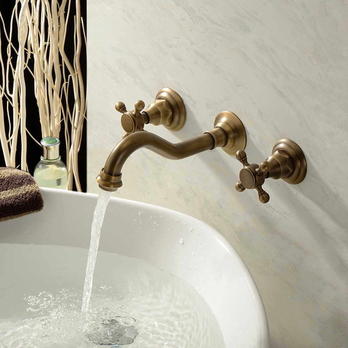Vintage Brass Modern Style Wall Mounted Bathtub Faucet Tap Set Basin Cold Hot Double Control Round Bath Bathroom Shower Faucet