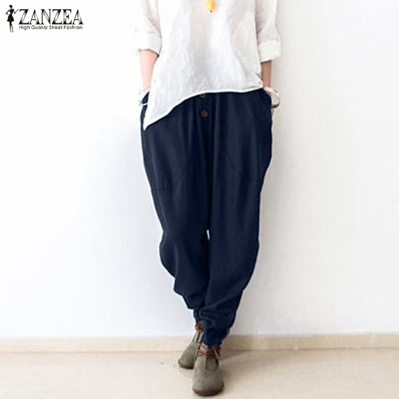 Women Harem Pants ZANZEA Female Casual Long Trousers Solid Drop Crotch Long Pants Elastic Waist Pantalon Streetwear Plus Size