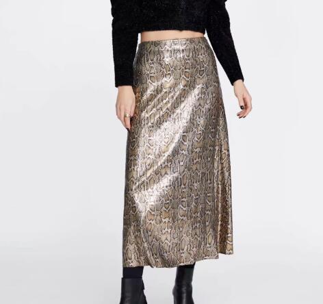 Autumn and Winter Snake Print Long Skirt Sequined High Waist Skirt Lady Fashion Streetwear 3