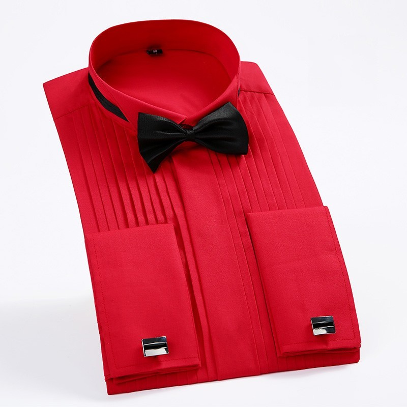Dress Shirts French-Cuff Long-Sleeve Wedding Formal Men's Solid Wing-Tip Bridegroom