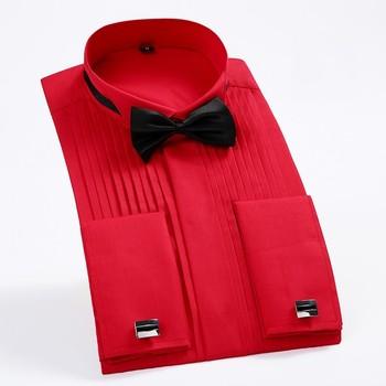 Męski francuski mankiet Tuxedo koszula jednolity kolor skrzydło wskazówka kołnierz koszula mężczyzna z długim rękawem ubranie koszule formalna ślub oblubieniec koszula tanie i dobre opinie Tuxedo koszule Włókno poliestrowe COTTON Pełna Skręcić w dół kołnierz Formalne Suknem tuxedo shirt REGULAR Stałe