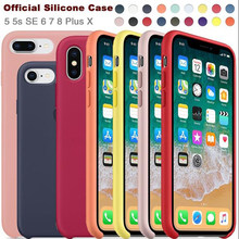 Have LOGO Original Official Silicone Case For Iphone 7 Apple For IPhone 8 Cover For IPhone X 6 6S 5 5s SE Plus Silicon Case Capa(China)