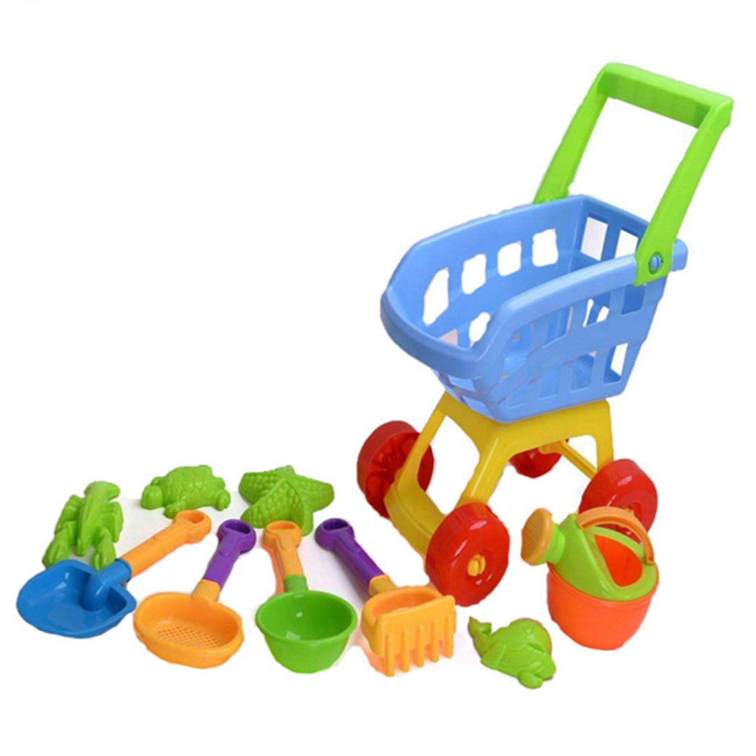 Hot Sale 10Pcs Outdoor Beach Sand Toy Set With Trolley Mold Tools Kettle For Children Kids Baby Sea Water Fun Sports Bathroom