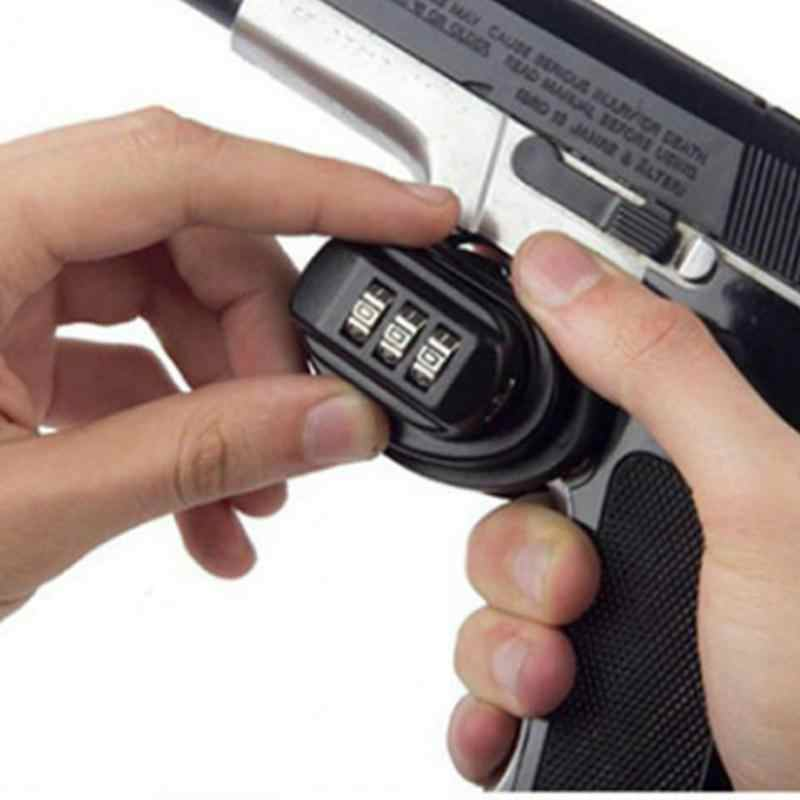 屋外キャンプ狩猟銃器抗火安全トリガーターゲットパスワードロックグロック安全ピストルロック安全狩猟