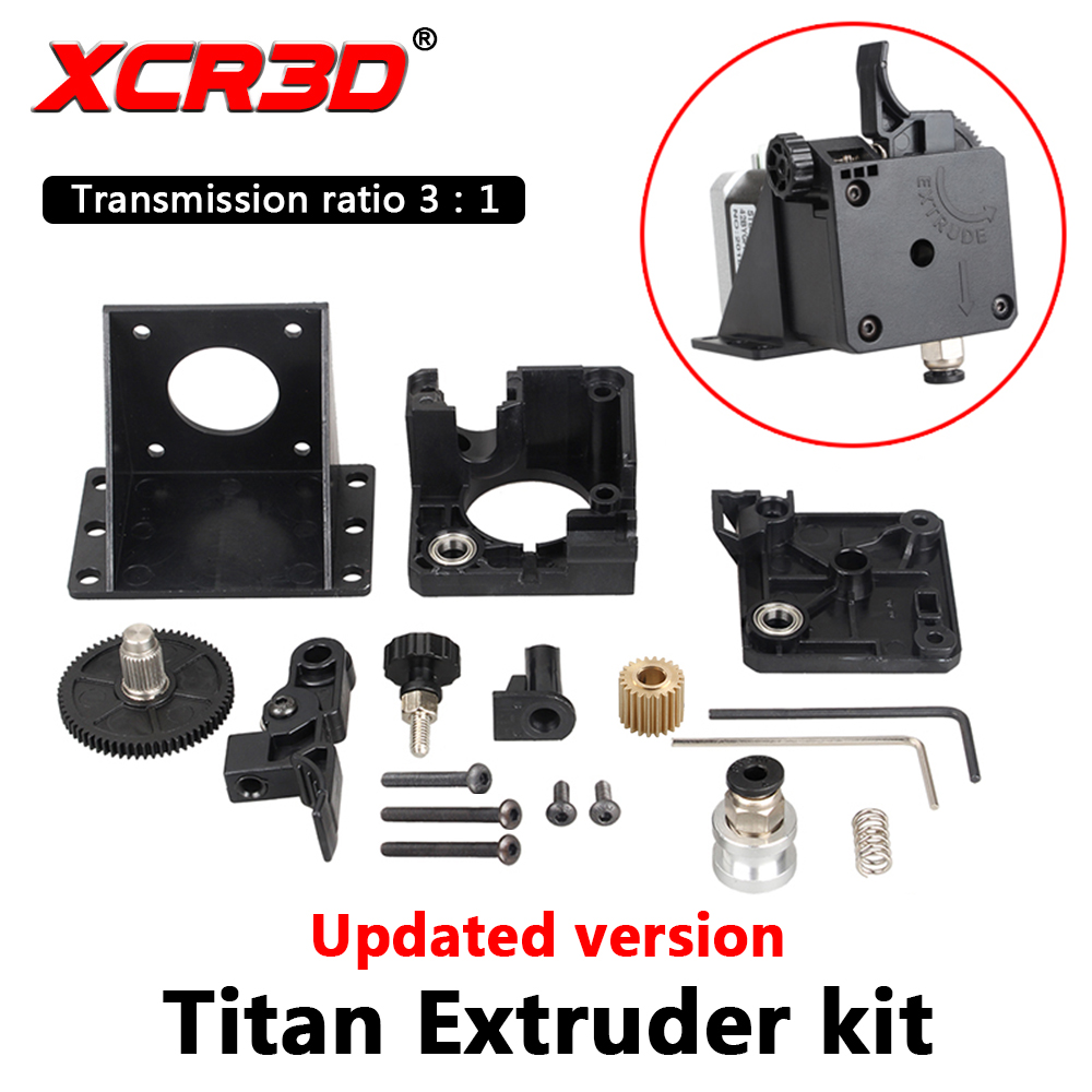 XCR3D Titan Extruder 3D Printer Parts For E3D V6 Hotend J-head Bowden Mounting Bracket 1.75mm Filament 3:1 transmission ratioXCR3D Titan Extruder 3D Printer Parts For E3D V6 Hotend J-head Bowden Mounting Bracket 1.75mm Filament 3:1 transmission ratio
