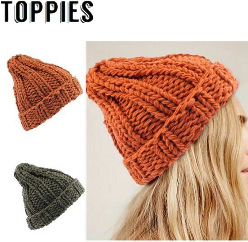 Toppies Women 2019 Winter Women Pumpkin Color Knit Hat Warm   Beanie   Hat Solid Color Winter Knit   Skullies     Beanies