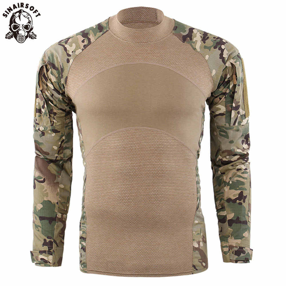 Mens Tactical Military Base Layer Long Sleeve Camo Top Running Fitness T Shirts