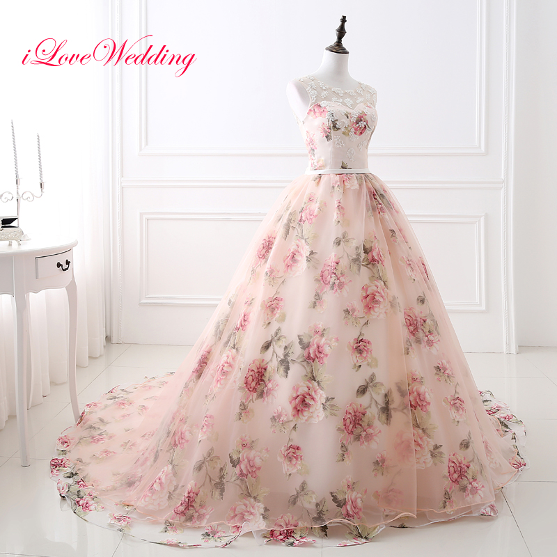 2019 Pink Prom Dresses Ball Gown Sleeveless Scoop Neckline Party Gown Floral Printed Tulle Lace Vestido