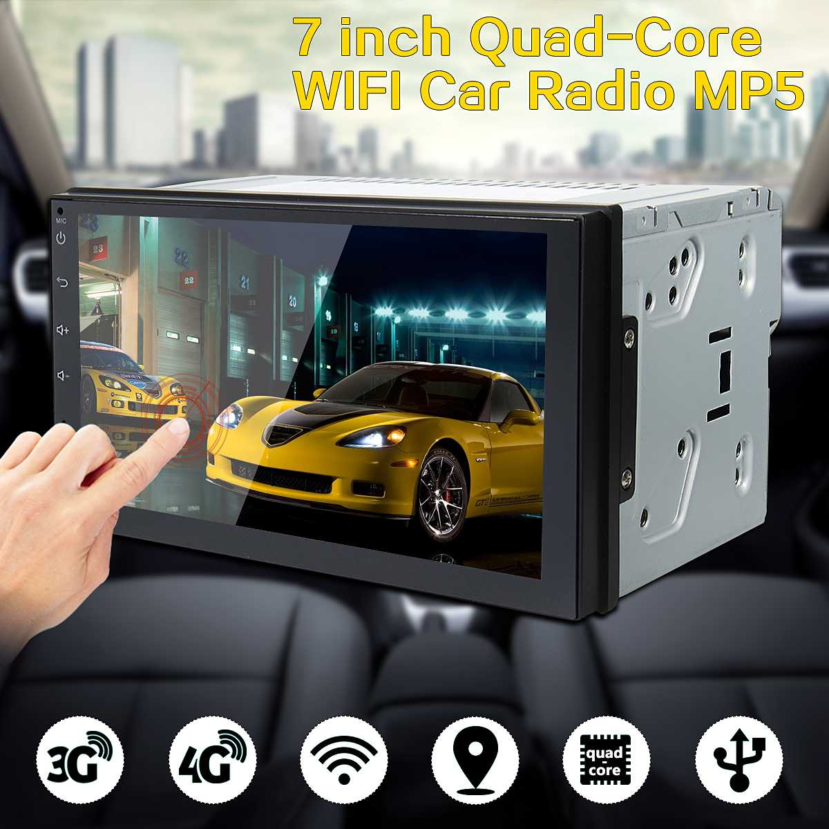 7 Inch Android 6.0 Double 2Din Quad Core Car Radio Stereo MP5 Player GPS 3G 4G WiFi Car Multimedia Player Audio Player