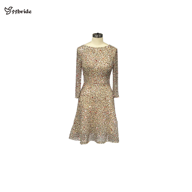 YYbride Hand Beading BlingBling Colorfully Short Dresses Scoop Neck Above Knee Sexy Party Dresses Backless Mini Cocktail Dresses