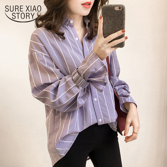 0d810262507 2018 spring new long sleeved blouses casual plus size female shirts striped  women tops button fashion women clothing D548 30