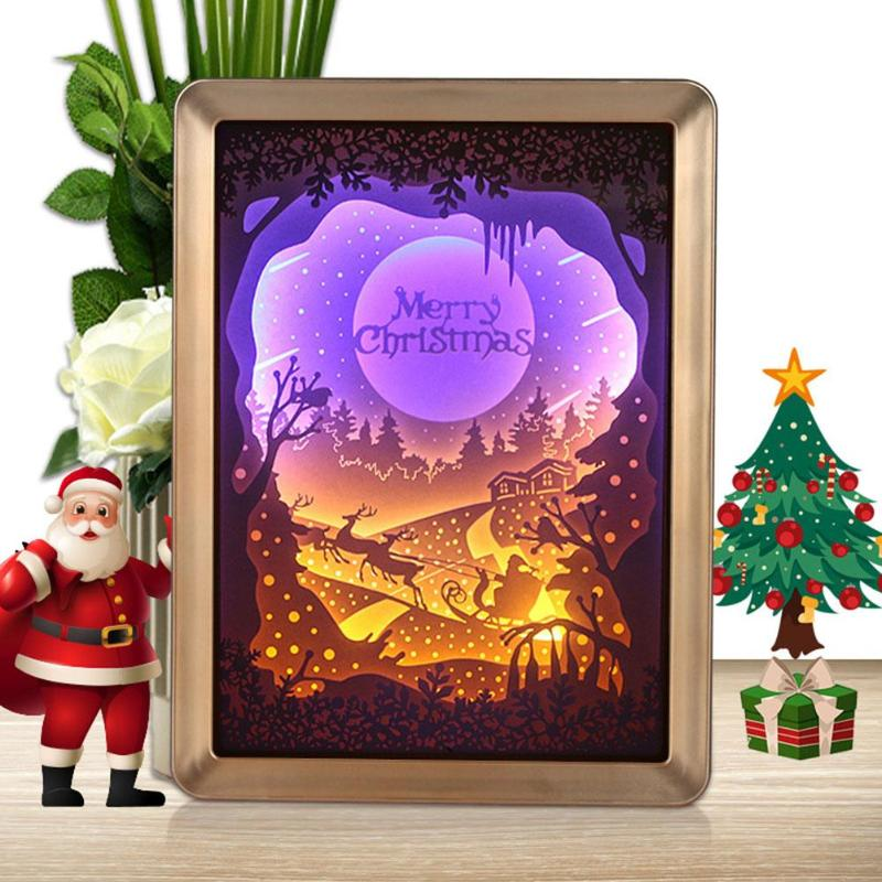 3D Christmas LED Laser Hollow Paper Light Box Party Festival Decor USB Power Supply Lamp For Christmas Home Decoration