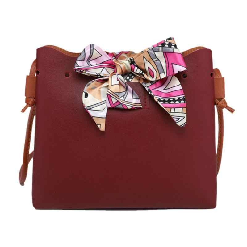 Mulheres Bolsa Bowknot Bonito Sacos de Balde de Couro PU Bolsas Moda Feminina bolsa de Ombro Sling Bags Meninas Com Cordão Crossbody Sacos de Arco