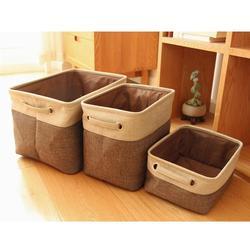 Uniwersalny prostokątne składana pościel bawełniana pojemniki do przechowywania pudełka ubrania do prania zabawki organizator pojemniki z uchwytami w Kosze na pranie od Dom i ogród na
