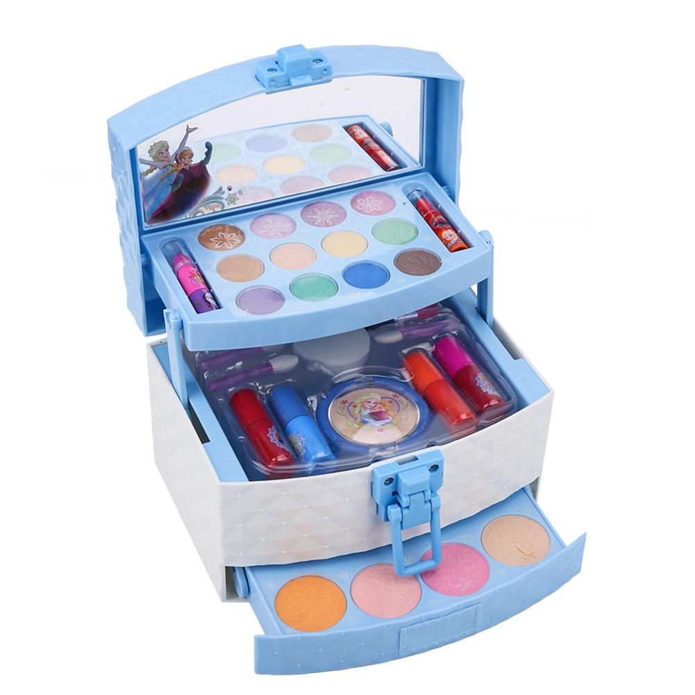 2019 Disney Newest Children Makeup Box Girls Predend Play Cosmetics Set Eyeshadow Blush Lipgloss Brush Mirror Cosmetic Toy Kit