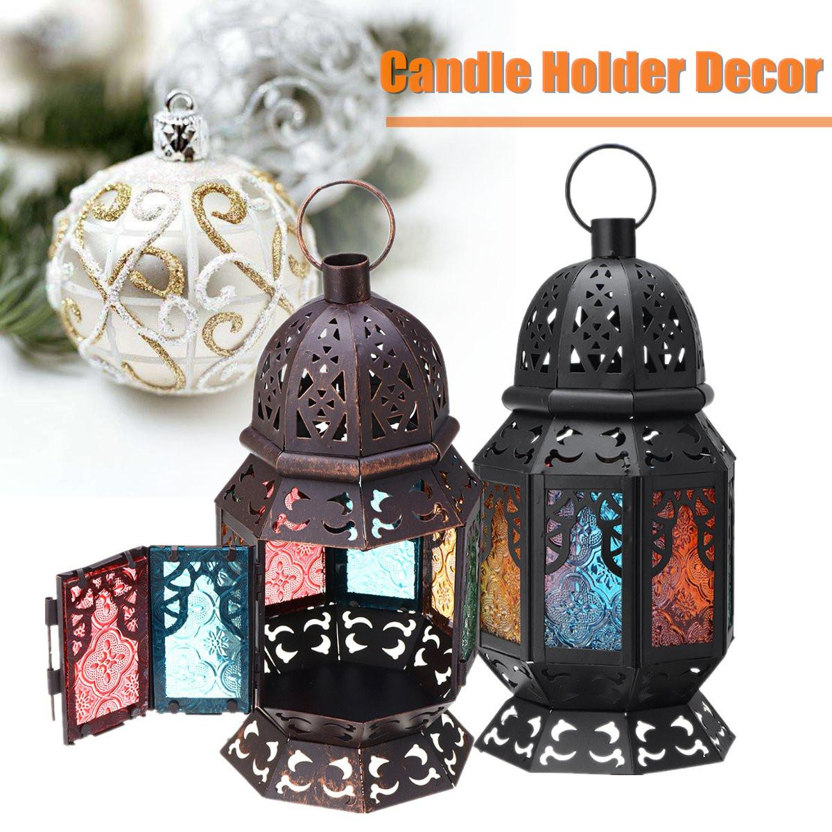 Candid Multi Coloured Glass Moroccan Hanging Lantern Tea Lights Candle Holder Wedding Party Ornament Home Decorations Gifts 13x13x26cm Home & Garden