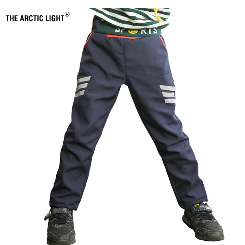 THE ARCTIC LIGHT Ski Hiking Pants Hiking Camping Boy Girl Reflective Stripe Waterproof Breathable Soft Shell Thick Trousers