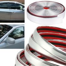 цена на 10M Silver Car Chrome DIY Molding Decorative Strip For Grille Window Bumper Door Edge Scratch Protection Cover Car Shape Sticker