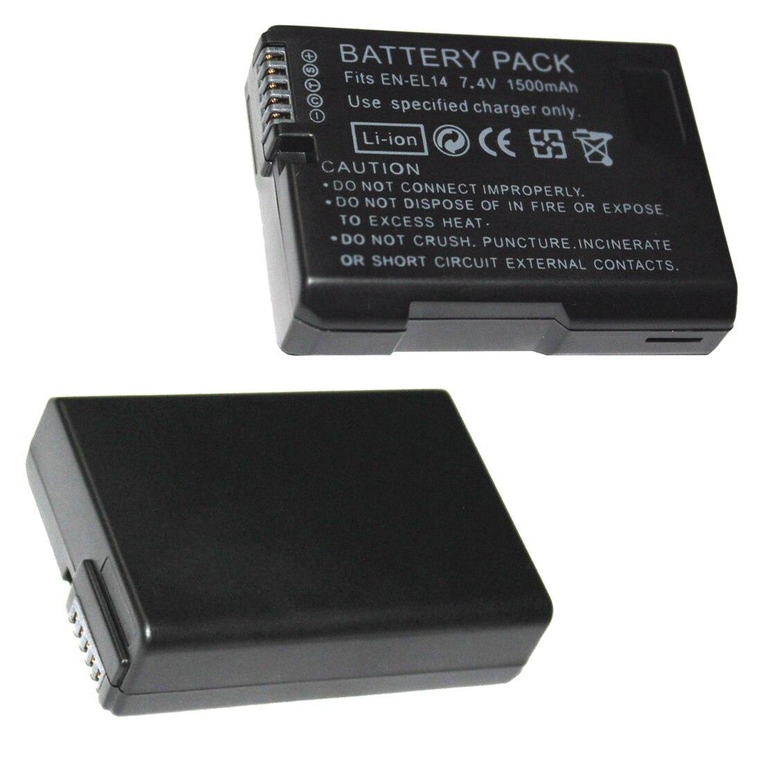 EN-EL14 baterías 7,4 V 1500 mAh ENEL14 es EL14 Cámara Paquete de batería para Nikon D5200 D3100 D3200 D5100 P7000 P7100 MH-24