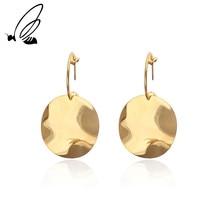 SSteel Fashion Circular Irregular Plane Stainless Steel Elegant Metal Geometry Round Exaggerated Earrings Jewelry For Women