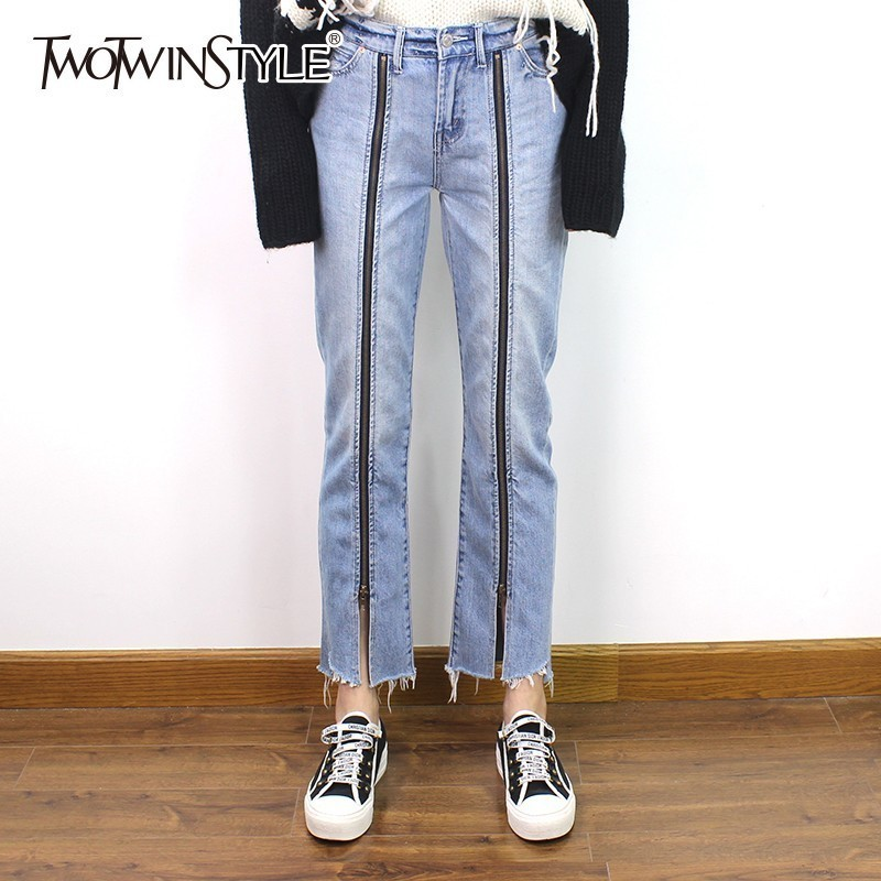 TWOTWINSTYLE Denim Trousers For Women High Waist Zippers Split Ankle Length Straight   Jeans   Female Streetwear Fashion 2019 Spring