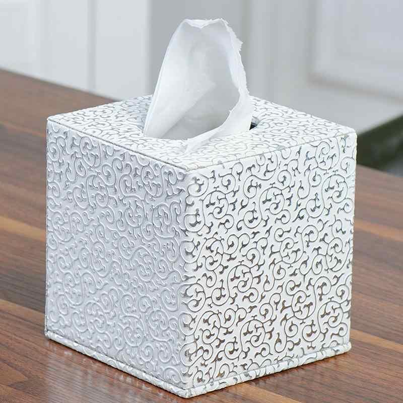 Золотой и серебряный резной узор для домашнего офиса лоток для автомобиля с коробкой для салфеток квадратный кожаный держатель для бумажных полотенец Настольный рулон лоток